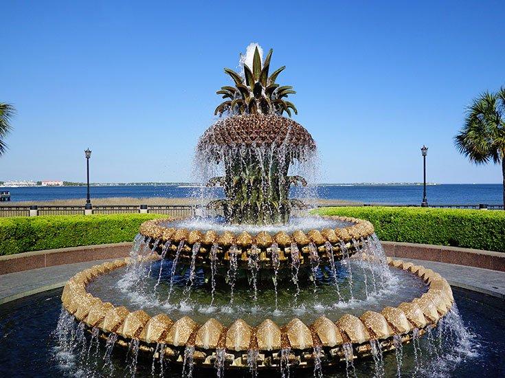 Pineapple Fountain downtown charleston